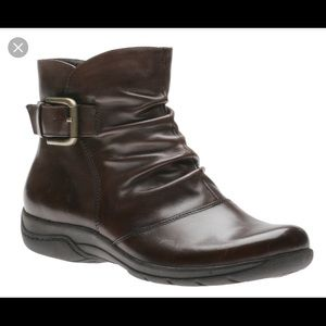 Clarks Ankle Boots Leather Zip Buckle Booties